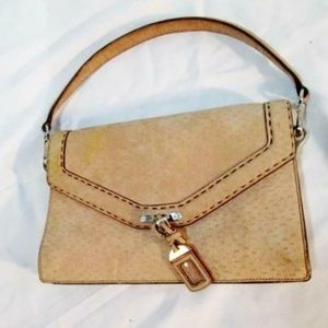 PRADA suede leather clutch satchel flap purse